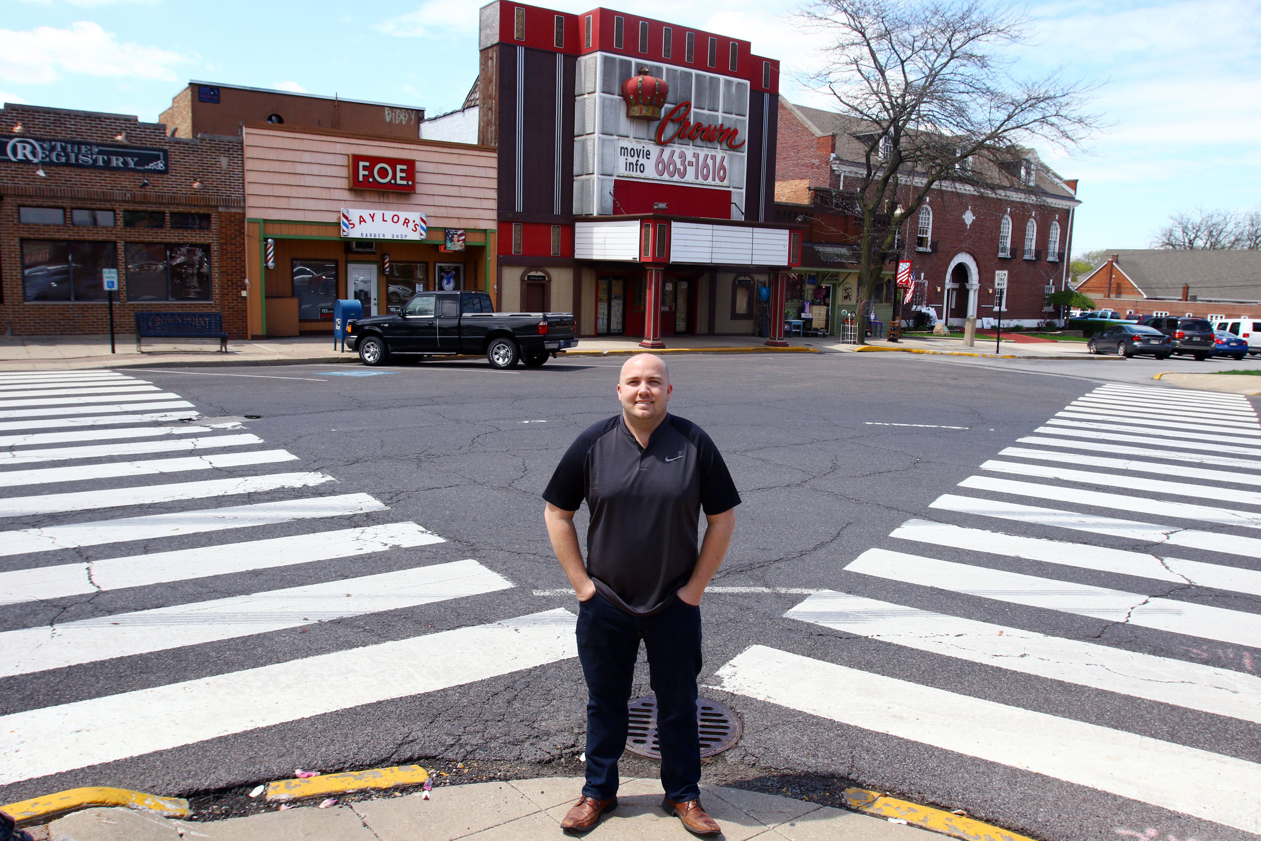 Brad Strom, of Crown Point, poses outside the Crown Theater in downtown Crown Point. Strom recently purchased the property with plans to try and fill the entertainment void left by the closing, and eventual demolition, of the Star Plaza Theatre.