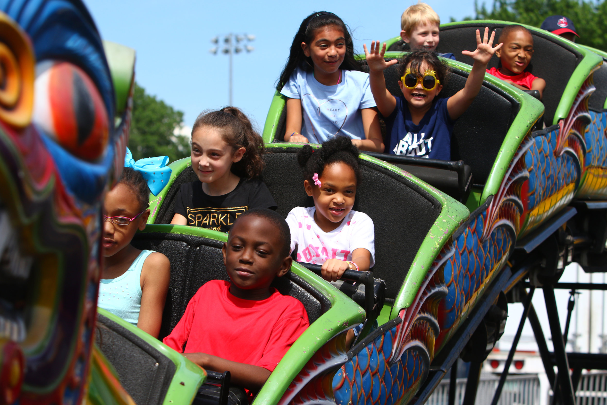 "Kids ride on the ""Orient Express"" attraction at St. Thomas More Fun Days in Munster."