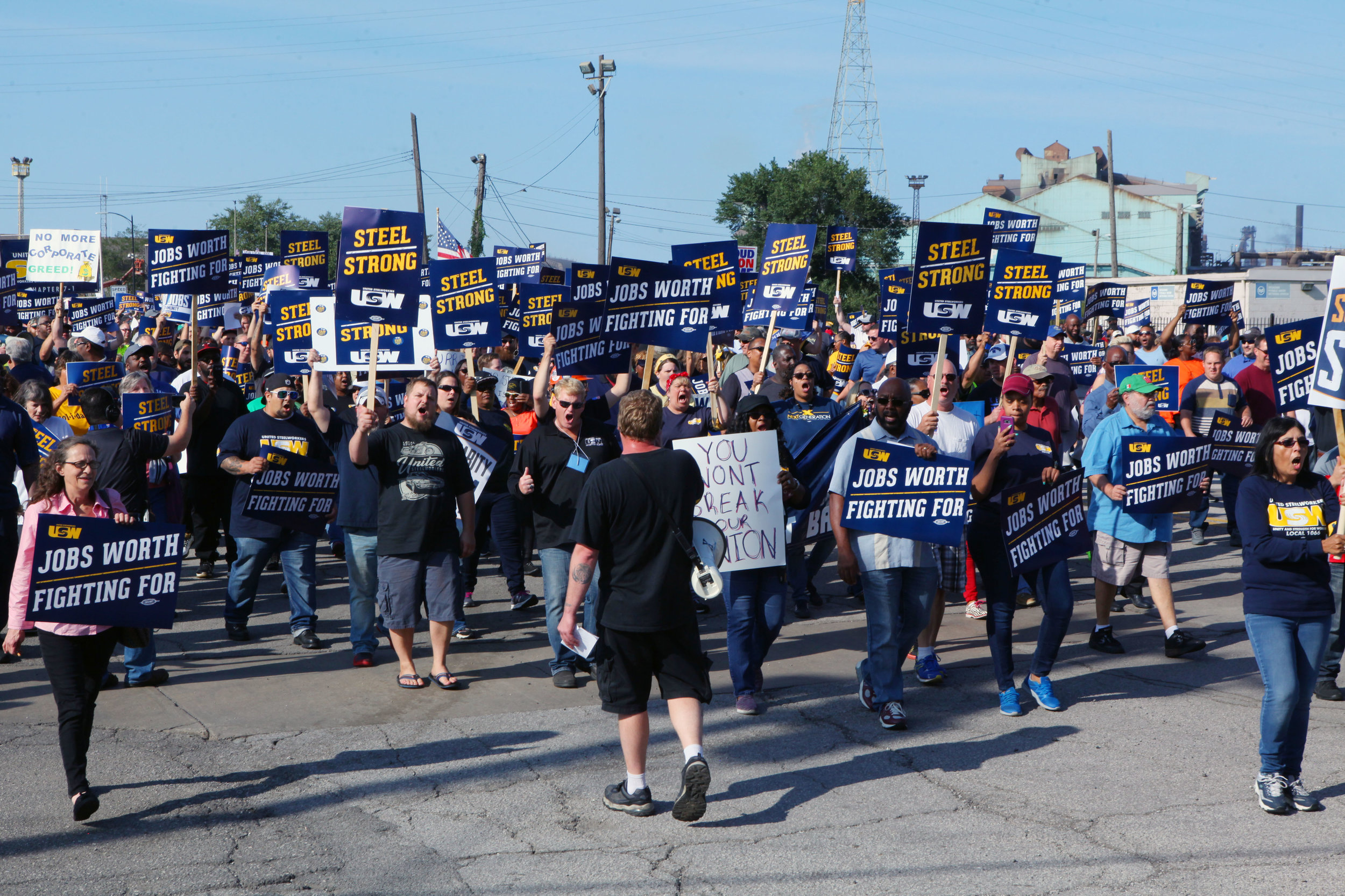 Steelworkers march and rally together outside of U.S. Steel Gary Works.