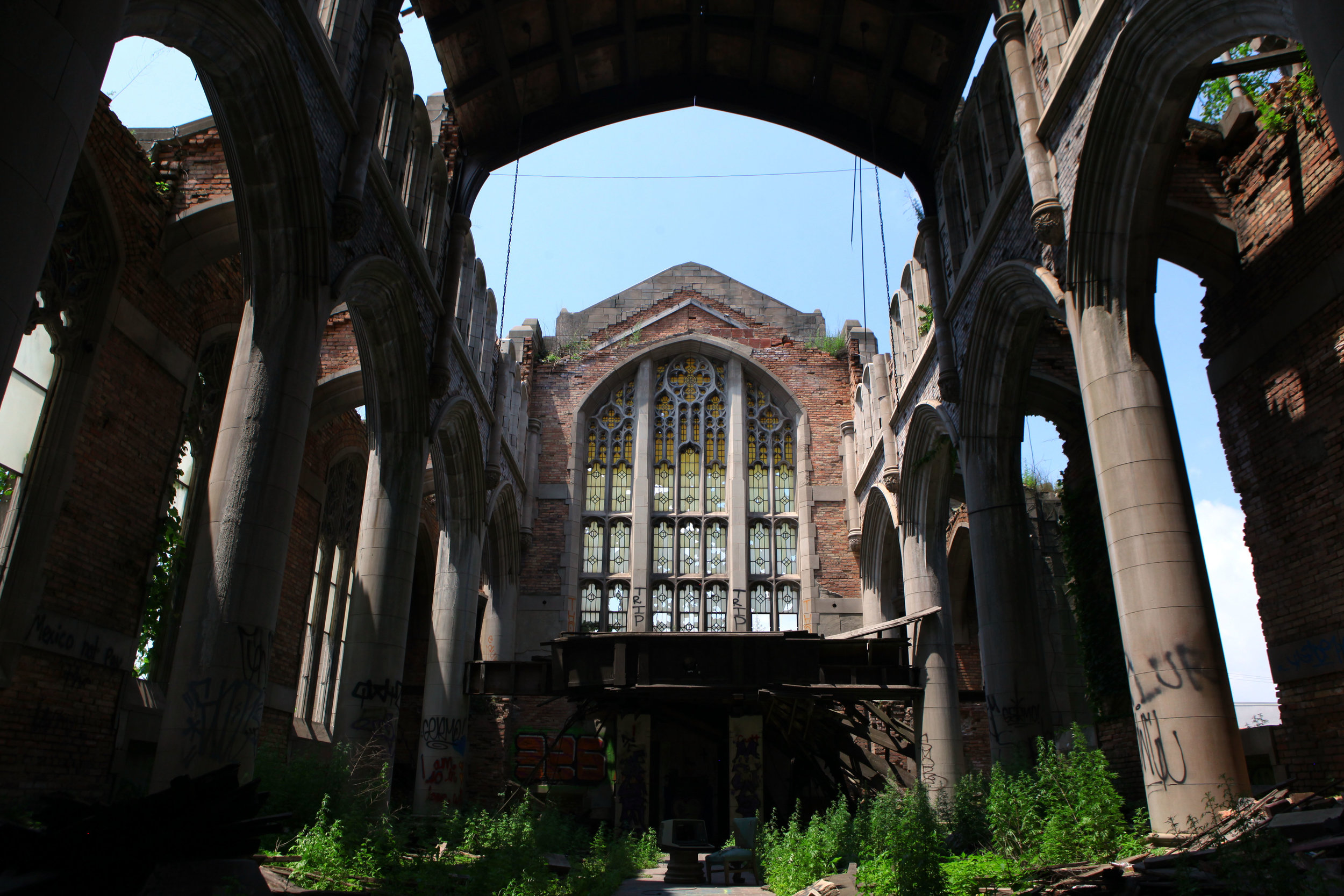 The interior of the abandoned City Methodist Church in Gary.