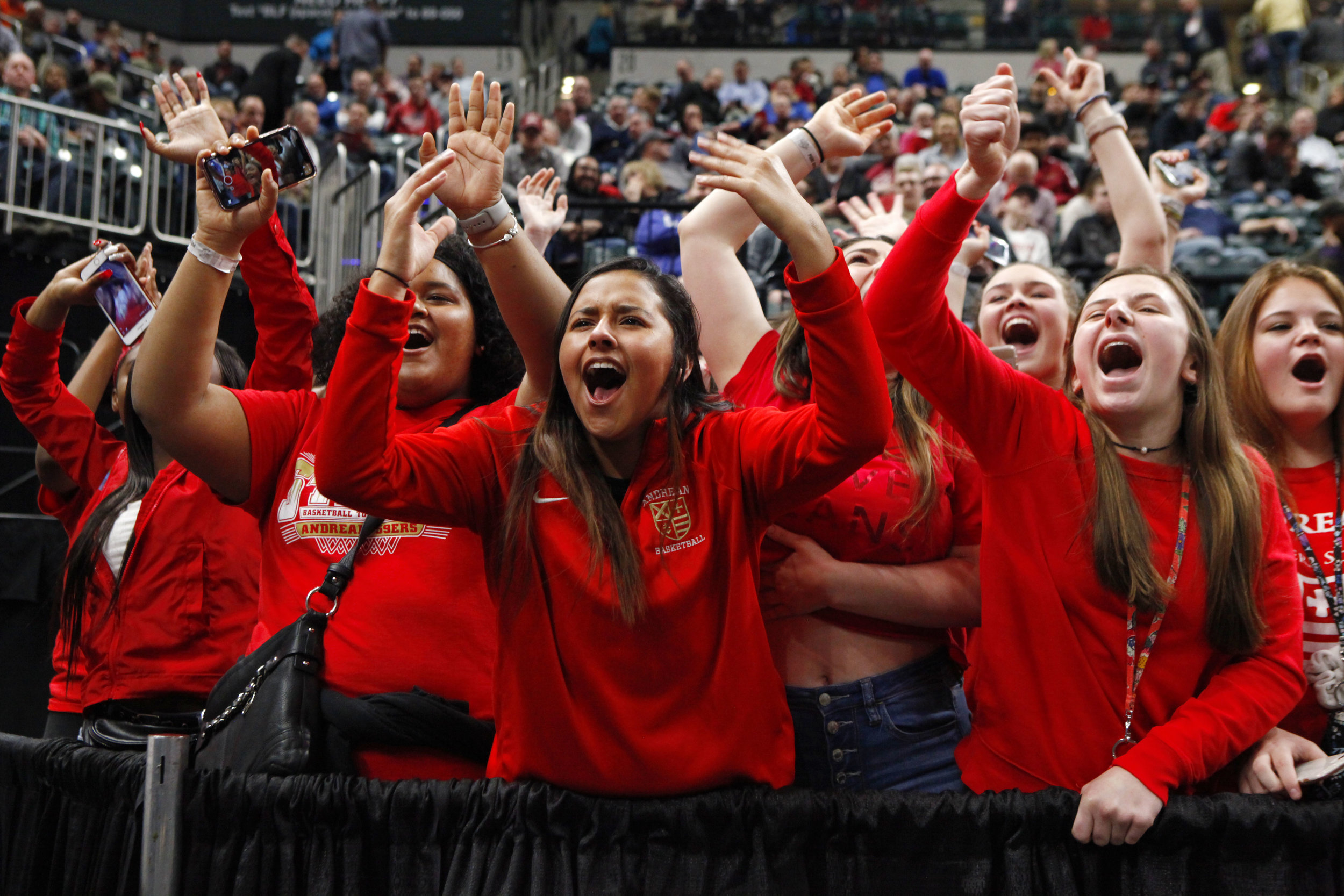 Andrean fans cheer on the 59ers against Linton-Stockton during a Class 2A state title game at Bankers Life Fieldhouse in Indianapolis.