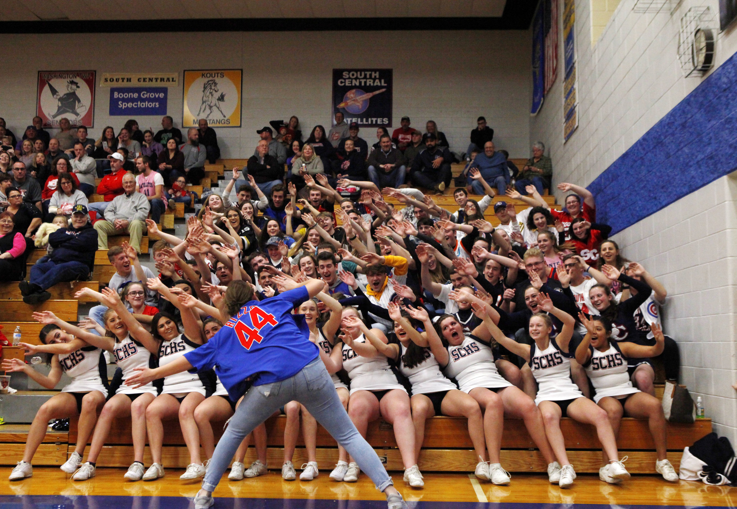 South Central's student section is led in the bus driver cheer during the PCC tourney semifinal game against Kouts at Boone Grove High School.