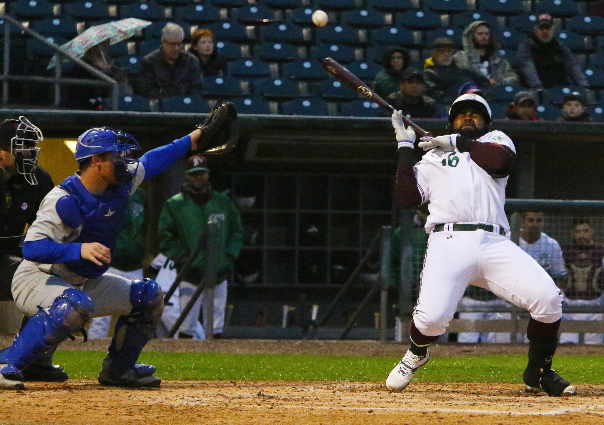 The Gary RailCats' Wilfredo Gimenez is hit by a pitch at U.S. Steel Yard in Gary.