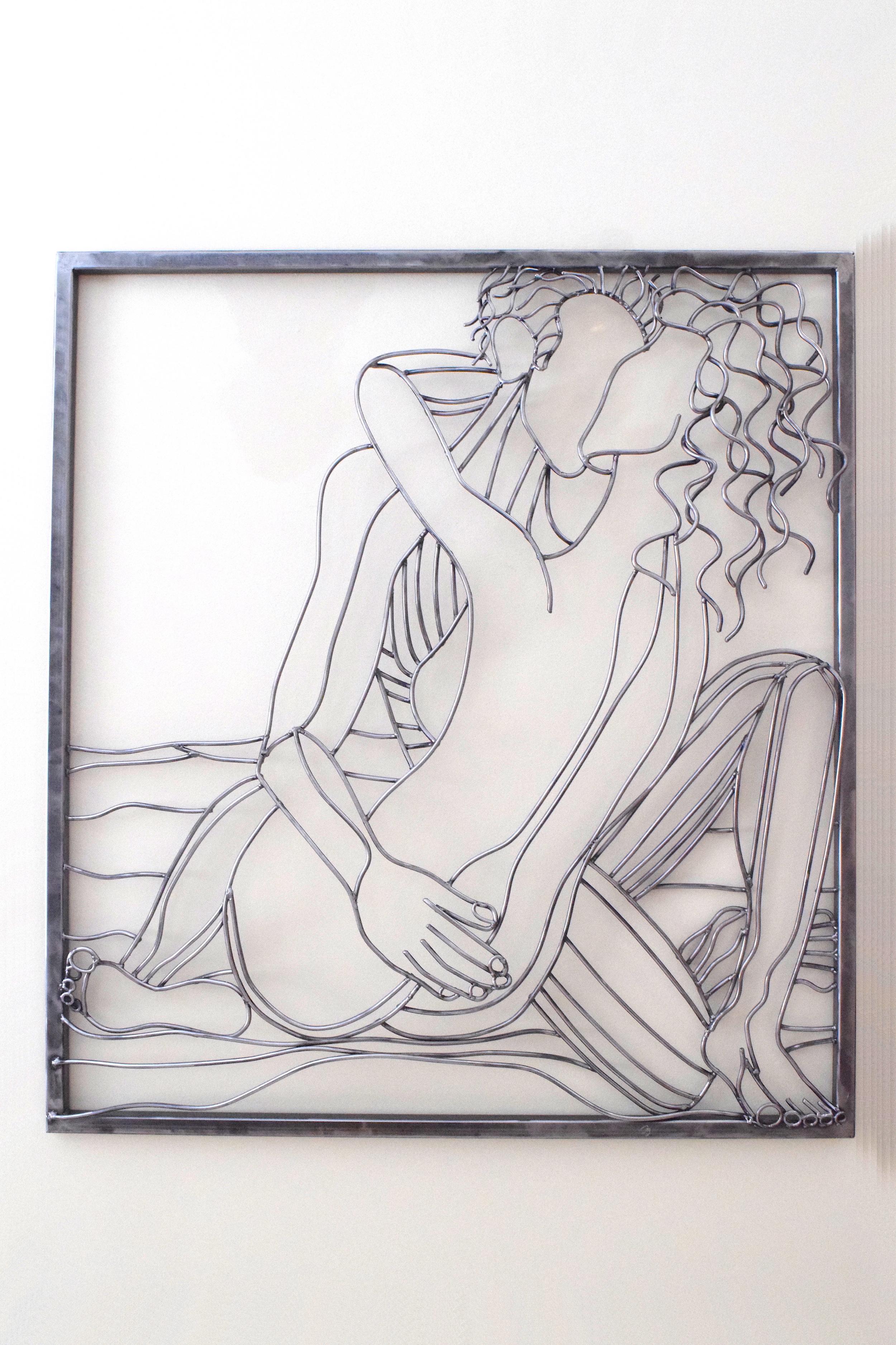 The Kiss | Steel Rod | Wall Sculpture
