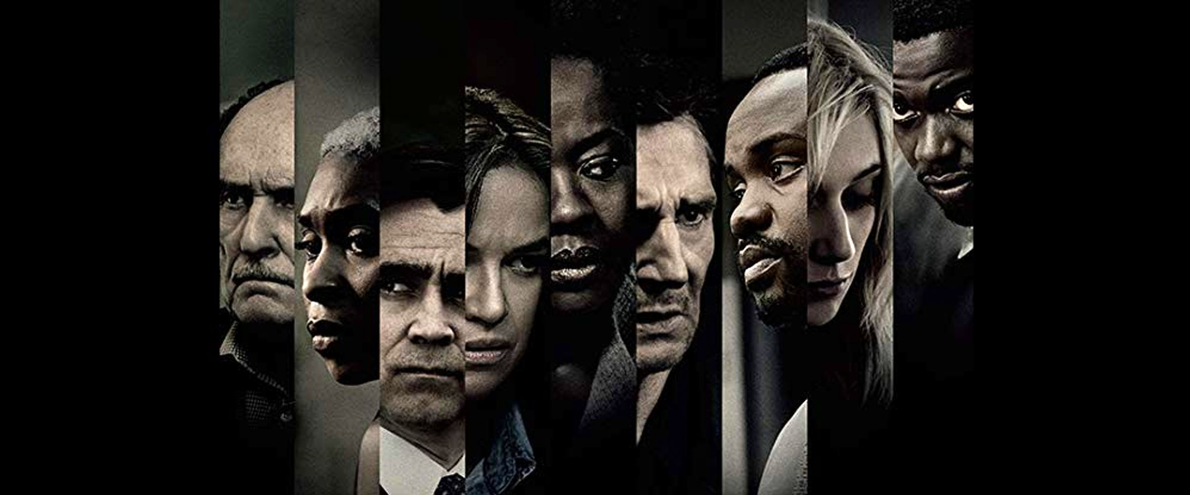 """19. THE CAST OF """"WIDOWS"""" (L-R): Robert Duvall, Cynthia Erivo, Colin Farrell, Michelle Rodriguez, Viola Davis, Liam Neeson, Brian Tyree Henry, Elizabeth Debicki, Daniel Kaluuya    After a heist attempt turns deadly for four bank robbers, three widowed wives and a new accomplice must complete the failed heist, with personal and political lives and futures hanging in the balance.    (director Steve McQueen):  """"To (several characters) of course it's about money and power. But unfortunately we are the people stuck in the middle of that environment—that cesspool, as I would call it—and we have to navigate our way through that. But what this film is about is making people aware of that power and where it comes from. In a way it's a metaphor that these four women can actually do anything about it.  What's beautiful about it is that these four women represent America. It's a country that's based on genocide and based on slavery, but on [top of] that there are these women who come from different parts of the world to create America. This is how the fabric of America developed: People from all different parts of the world come together to create the union, and these women know that they can't do without each other. So they come together to do something, to achieve their goal, and they know they can only do this by being together. That is America, as far as I'm concerned. I'm not suggesting we should go out there and just rob people. What I'm suggesting is that people should sort of think about one another in order to take power. This is what these women from different social and ethnic backgrounds are doing.   (On why he chose to adapt a British mini-series from 1983):  """"All those years later, it never got better. In fact, you know, now maybe because of #MeToo, the public is just becoming aware of certain things, certain aspects of that dialogue that was happening 35 years ago on a TV show. It stayed with me because nothing had changed."""" -  Slate, November 20, 2018"""