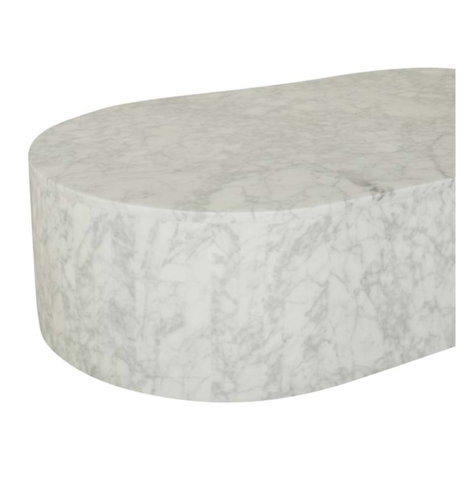 Picture of: Elle Block Oval Coffee Table Carrara Marble Zephyr Stone