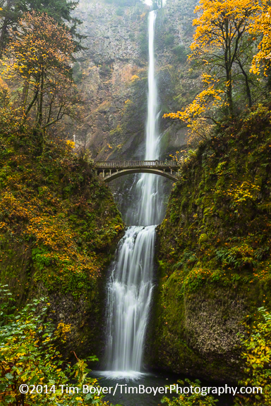 Multnomah Falls in October. 1/2 a second at f/18, ISO 200 and a focal lenght of 23mm.