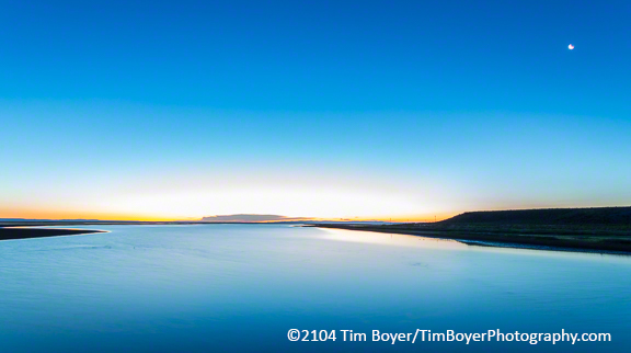 30 second exposure of Malheur lake at sunrise from The Narrows, Malheur National Wildlife Refuge. f/11, ISO 100, 17mm focal length.