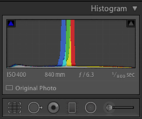 LightRoom Histogram showing expsoue to the right, and get data in the last section or box of the camera or LightRoom Histogram.