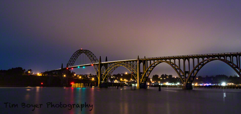 Newport Bridge way after sunset and a really long exposure.