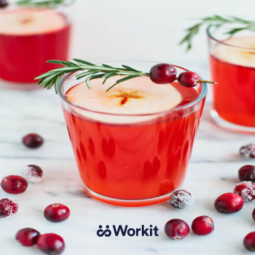 red cranberry juice mocktail with rosemary and cranberry garnish