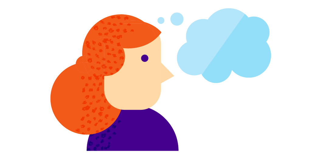 redhead thinking illustration