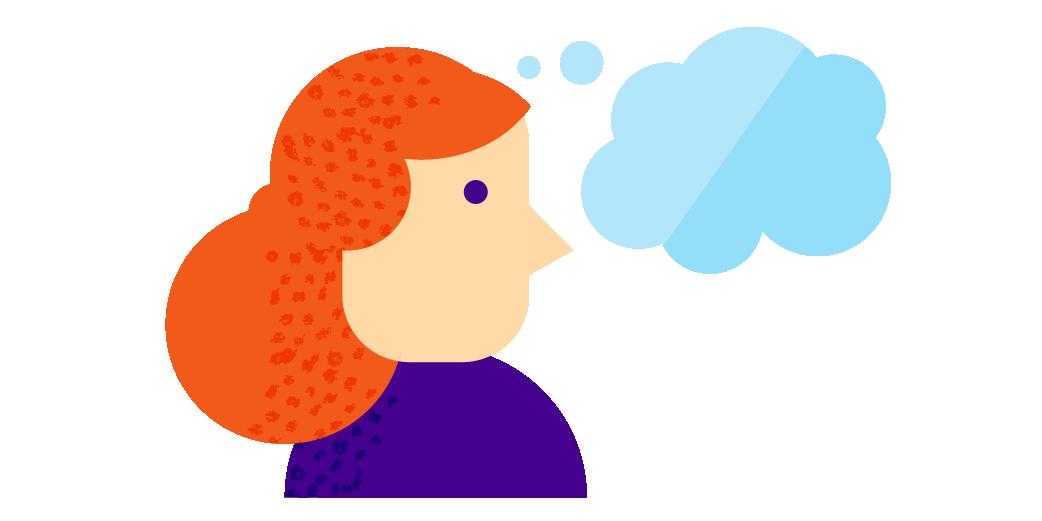 redhead thinking illustration