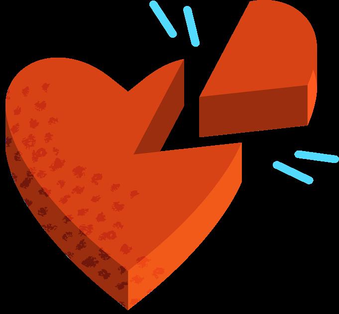 broken heart piece illustration