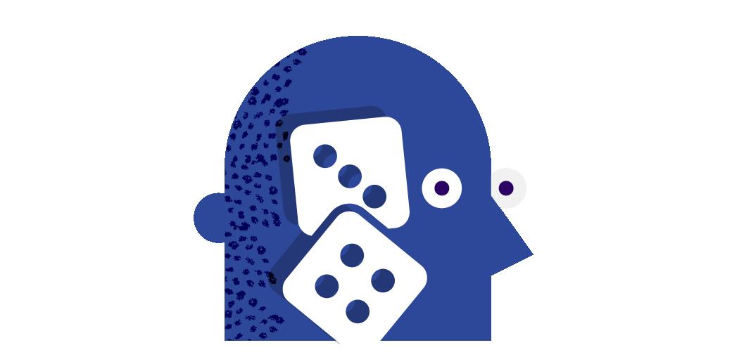 gambling dice head illustration