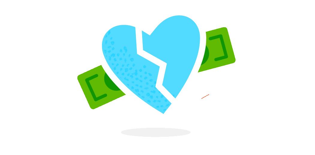 broken heart money illustration