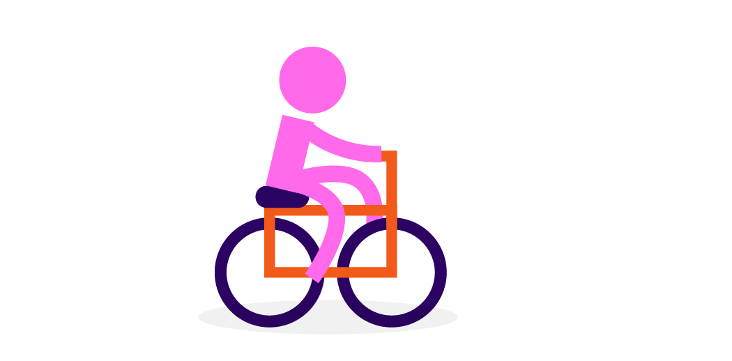person riding bike illustration