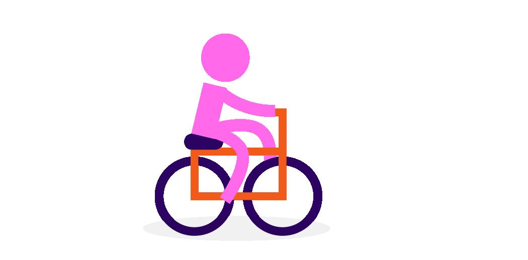 person riding bike illustration