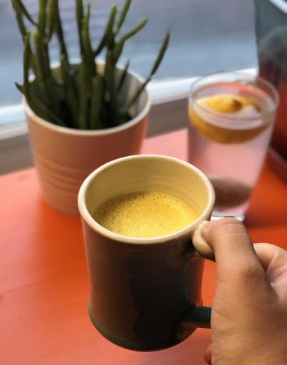Ingredients - 1 thumb-sized piece of peeled sliced turmeric (or 1 tbsp of ground turmeric)1 tbsp raw honey1 tsp of ground ginger1 tbsp coconut oil1 tsp true cinnamon1 pinch of pink sea saltCracked black pepper1 cup of almond milk