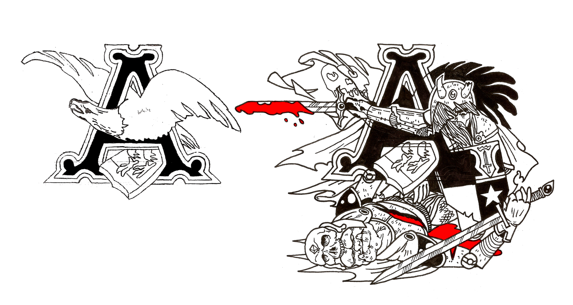 My coworker got the Anheuser-Busch eagle logo tattooed on his shoulder when he was in college. He now regrets it and asked me to design a cover up for it with a bad ass warrior motif, this is what I could come up with.