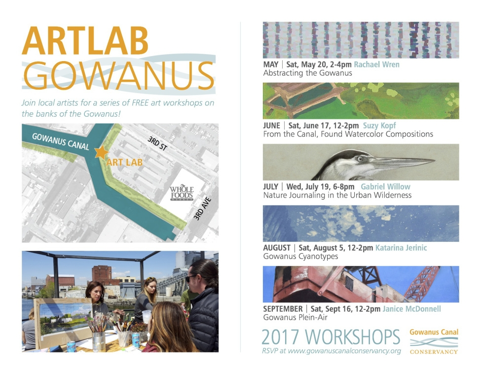 - Spring 2017I'm thrilled to announce the 2017 ArtLab Gowanus season. Thanks to our jury of myself, Natasia Sidharta, Wendy Adringa, & Abby Subak for helping to award from a pool of applicants this roster of talented local artists to instruct the workshops. ArtLab Gowanus was made possible by a grant from Councilman Brad Landers office.