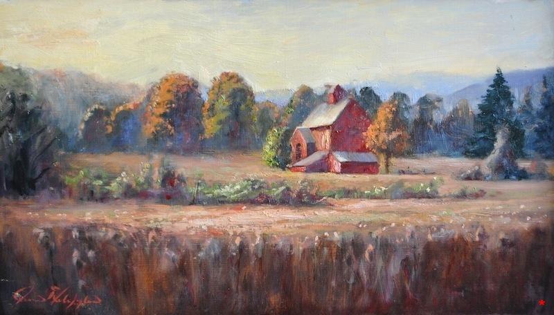 Barn In Meadow, 10 x 18, oil on panel, $700 MEDIUM FILE .JPG