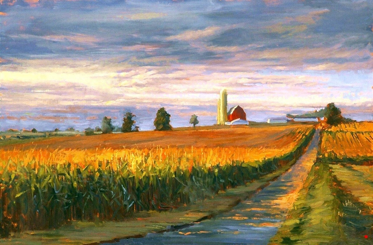 3. Cornfields At Sunset, oil on canvas, 24 x 36.jpg