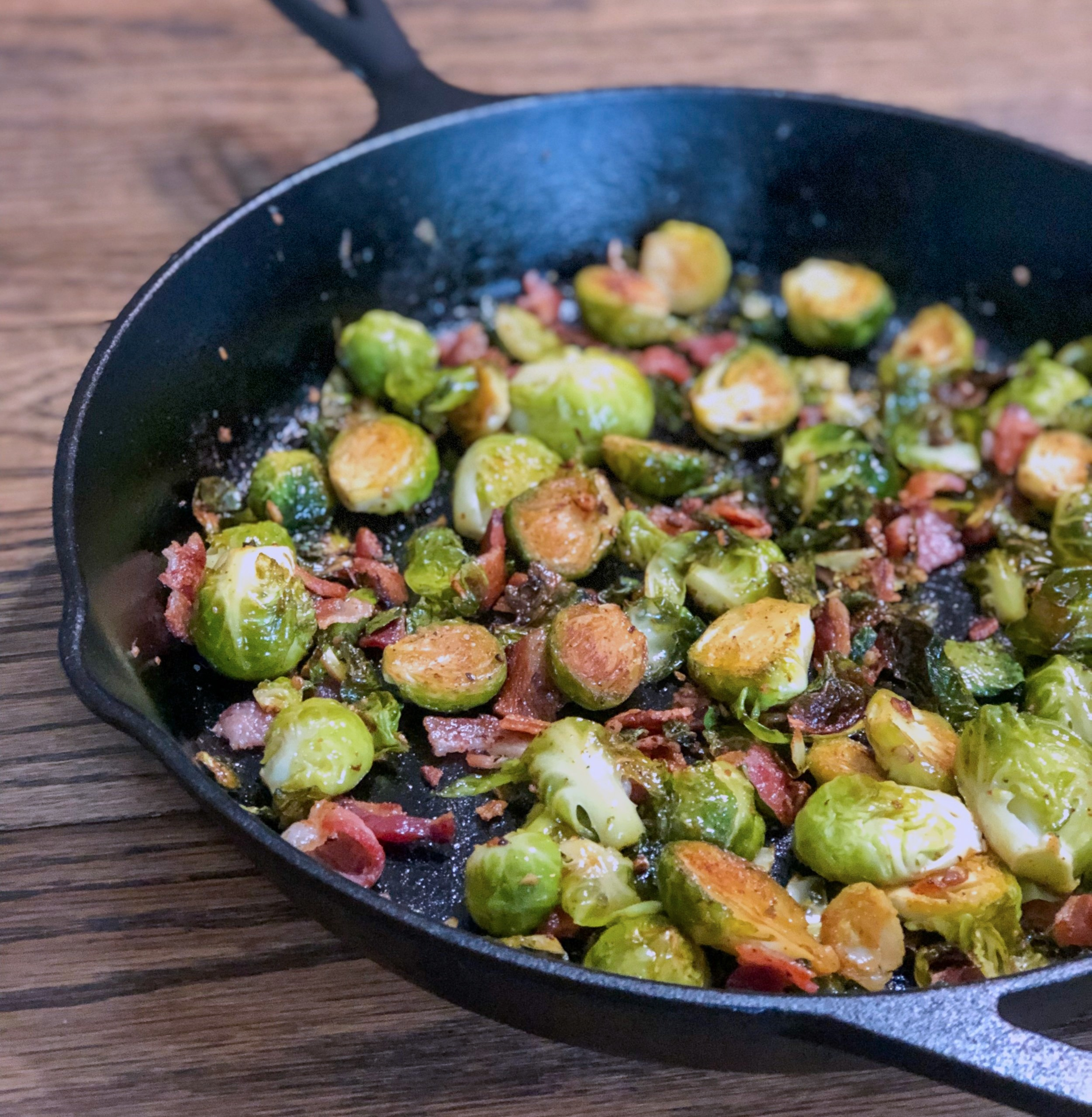 Cast Iron Roasted Bacon & Brussels -