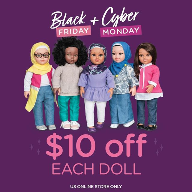 ✨#BlackFriday & #CyberMonday sales are now LIVE! ⠀⠀⠀⠀⠀⠀⠀⠀⠀⠀⠀⠀⠀⠀⠀⠀⠀ Click link in bio to grab your #SalamSisters doll before she walks out the door!⠀⠀⠀⠀⠀⠀⠀⠀⠀ -⠀⠀⠀⠀⠀⠀⠀⠀⠀ Wishing you a beautiful and blessed #JumuahMubarakah