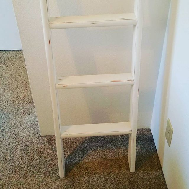 Furniture Project:  Keep scrolling for before pictures! This child's ladder was a fun project. Upcycled from a kids ladder for a bed to a blanket ladder holder! Love it! 😍😍😍