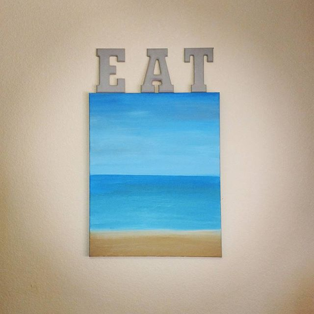 "Fun little project for today! Combining two of my favorite things the beach and food!  Used my beach painting as a shelf for my ""EAT"" letters in my kitchen! 😍🍽️🎨"