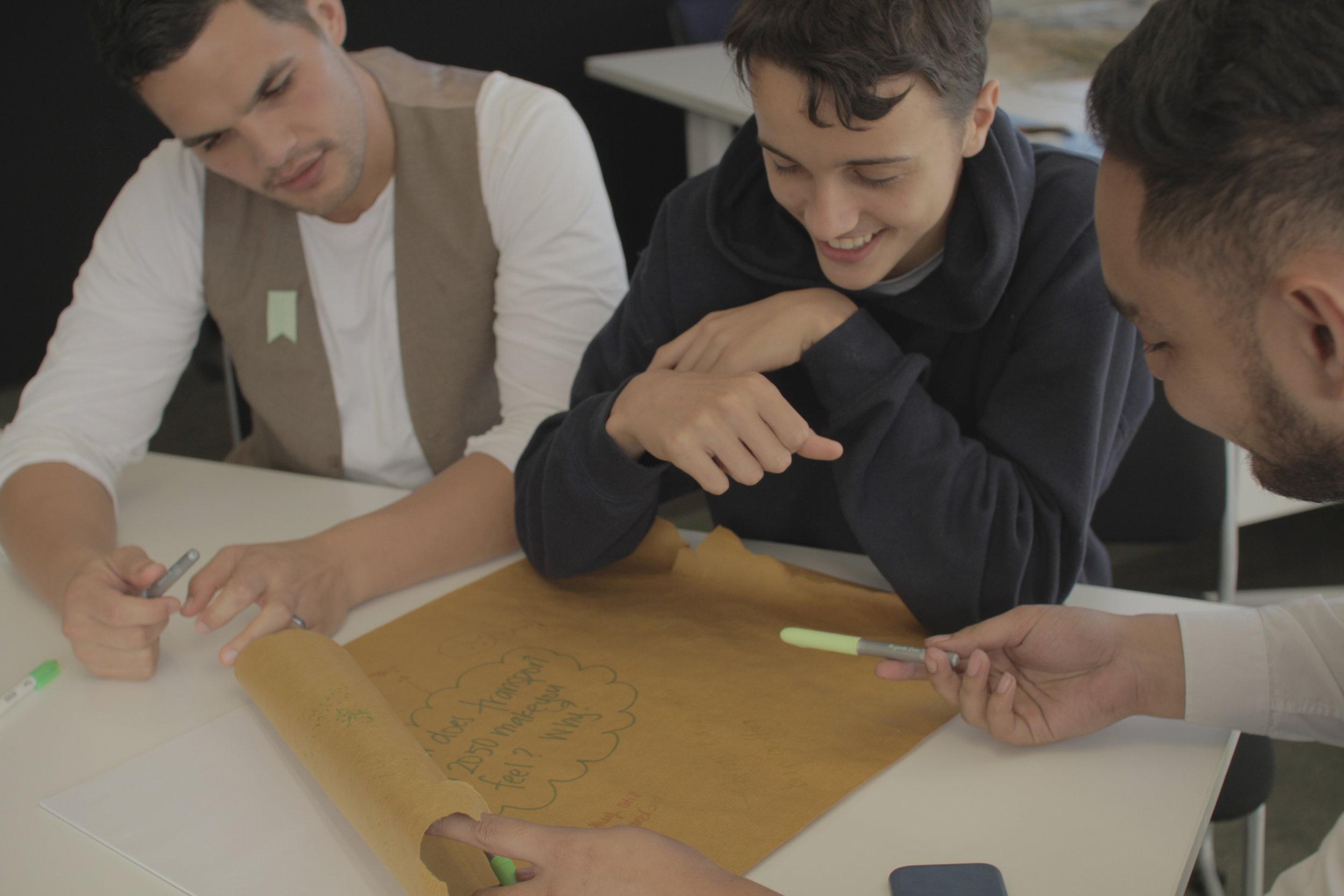 Rangatahi at one of our co-design workshops.