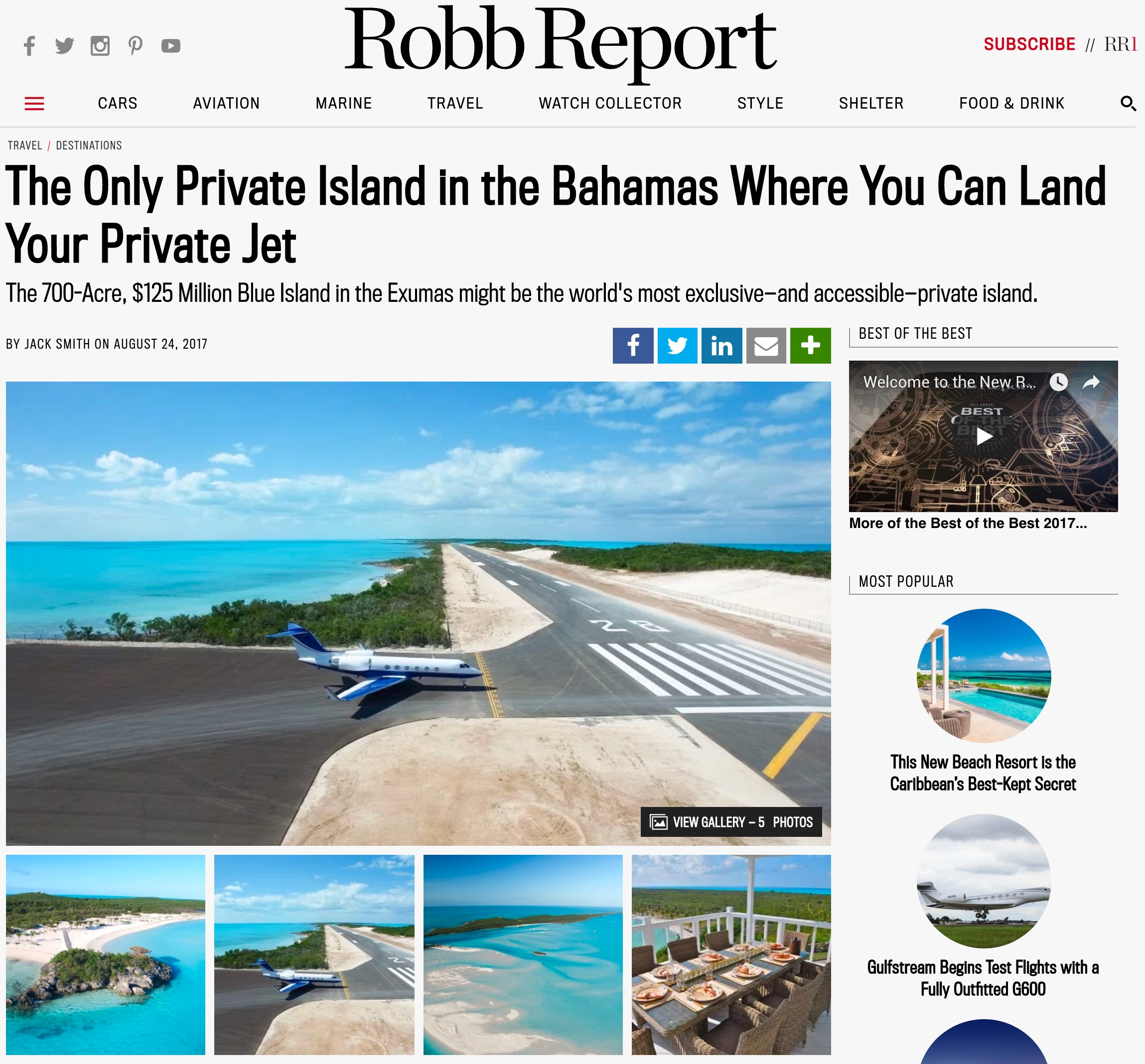 Read About Robb's Visit to Blue Island - Robb Report on Blue Island Exuma