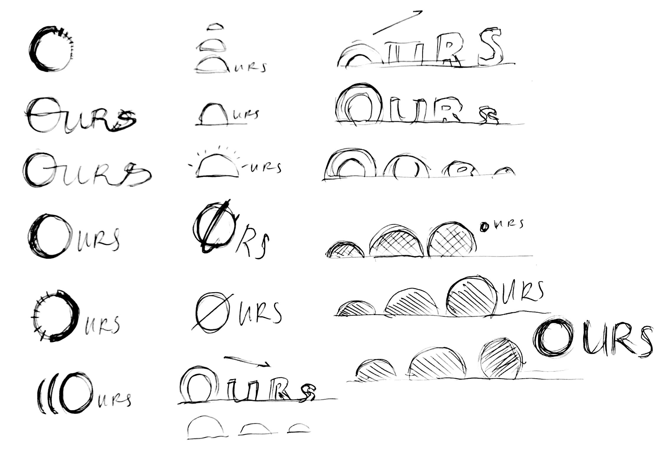 The branding process started out with choosing a name that would encompass the sense of being in control of life and not taking time for granted. I thought 'Ours' would be great since it also referred to 'hours'. I wanted to create a logotype that encompasses the characteristics of the rising sun and explored that treatment of rising eclipses onto each letter as well.