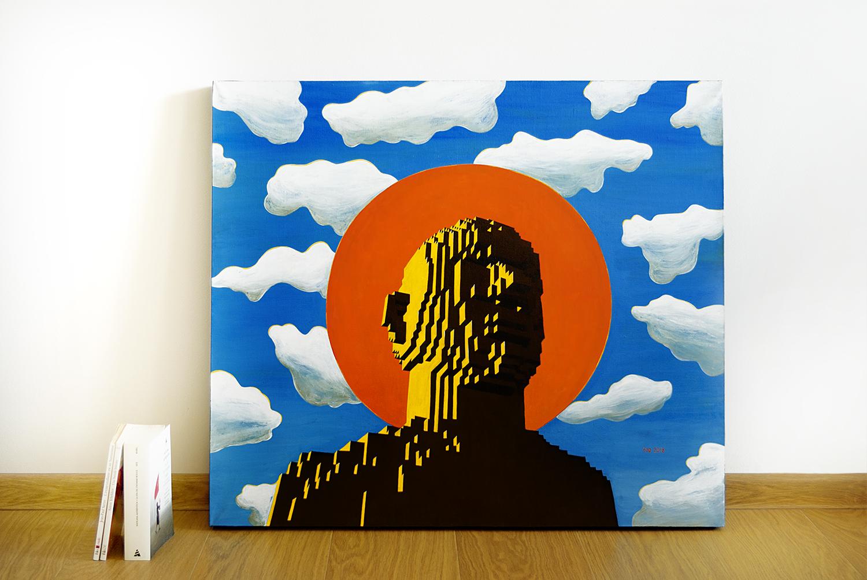 Convinced, 2018.   Medium: tempera and gouache on canvas. Size: 80 x 70 x 4 cm. N 043