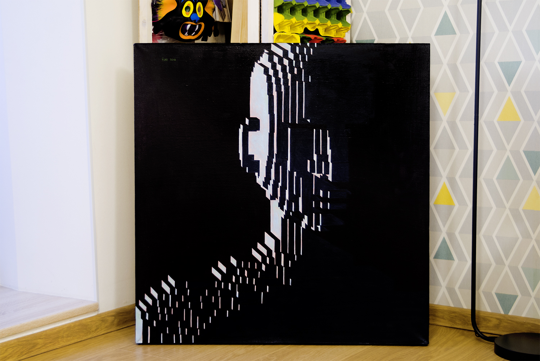 Bye, 2018.   Medium: tempera and gouache on canvas. Size: 80 x 80 x 4 cm. N 047