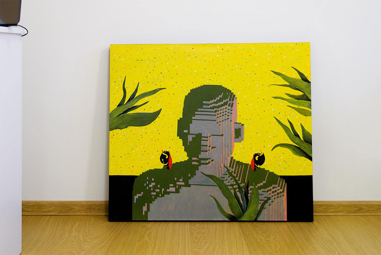 Self-Portrait, 2018.   Medium: tempera and gouache on canvas. Size: 80 x 70 x 4 cm. N 046