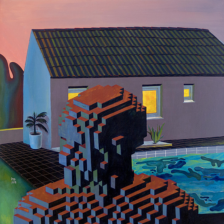 Yod, Evening near the house, 2018 canvas, tempera, gouache 80 x 80 cm. N049_2.jpg