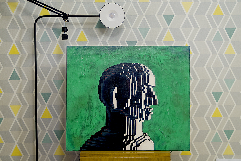Looking man, 2018.   Medium: tempera and gouache on canvas. Size: 70 x 60 x 2 cm. N 040
