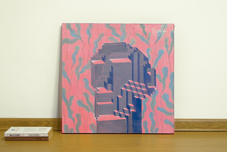 In the garden, 2017.   Medium: tempera and gouache on canvas. Size: 50 x 50 x 2 cm. N 032