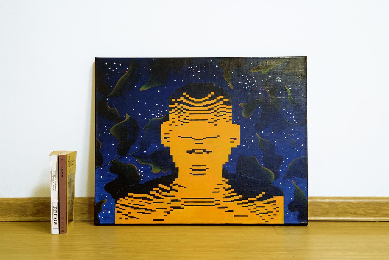 Bonfire, 2018.   Medium: tempera and gouache on canvas. Size: 50 x 40 x 2 cm. N 044