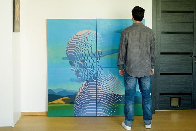 This is my first large format. The painting was realized in modular technics and consists of 4 canvases (80 x 80 cm each). The large size allowed me to increase the model's detailing, and now it's consists of more than 5 600 000 independent blocks.  Landscape 01, 2019  canvas, acrylic 160 x 160 cm overall, 4 canvases (80 x 80 cm each) N 051  #artwork #ratedart #ratedmodernart #artinstudio