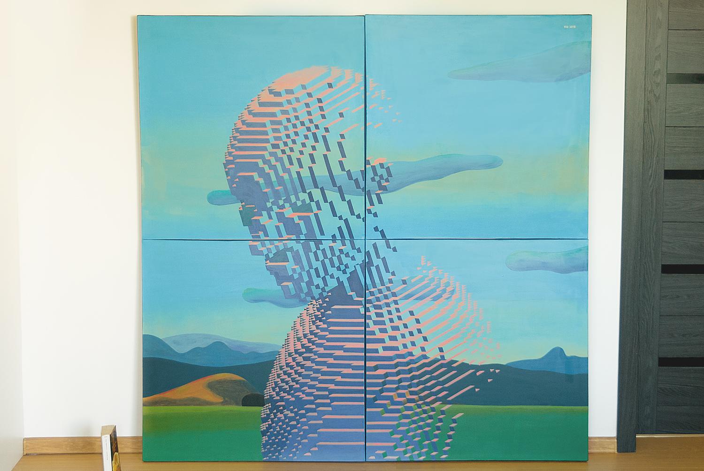 Landscape 01, 2019.   Medium: acrylic on canvas. Size:  4 canvases (80 x 80 cm each), 160 x 160 x 4 cm overall . N 050