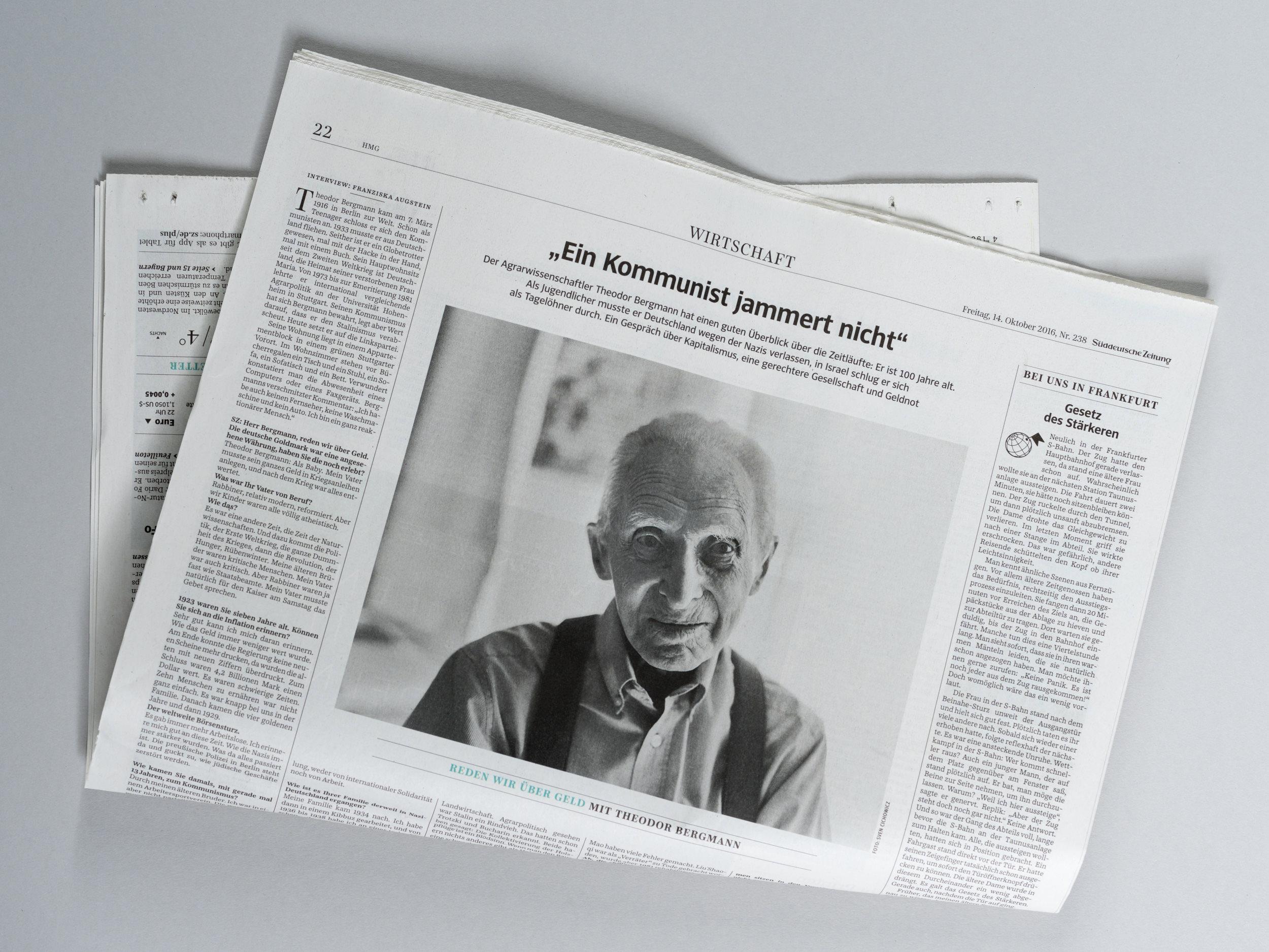 Prof. Dr. Theodor Bergmann für die Süddeutsche Zeitung