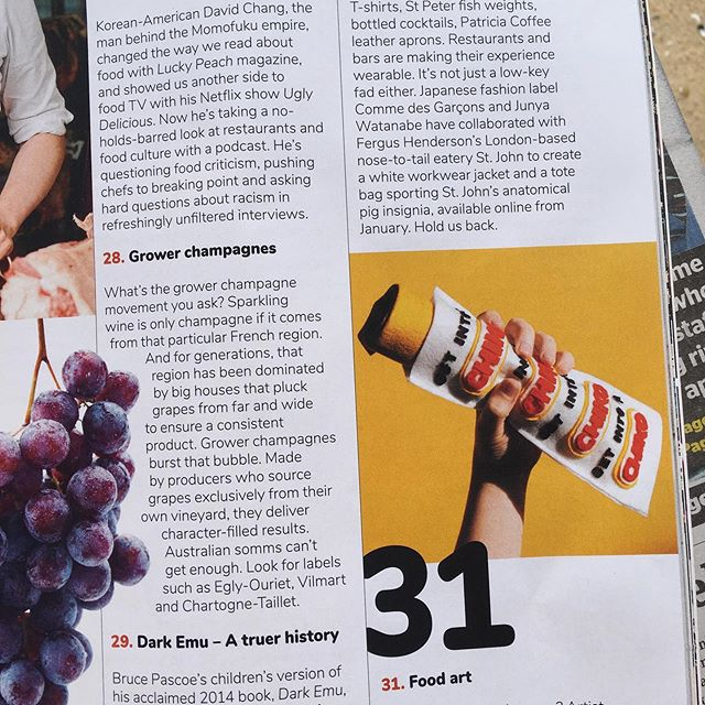 Go grab a copy of @goodfoodguide in today's Sydney morning herald / the age and find my work in the Top 40 Hottest Things in Food, next to people who make real food at real food places.  #fakefoodrealheroes #gotothenewsagent