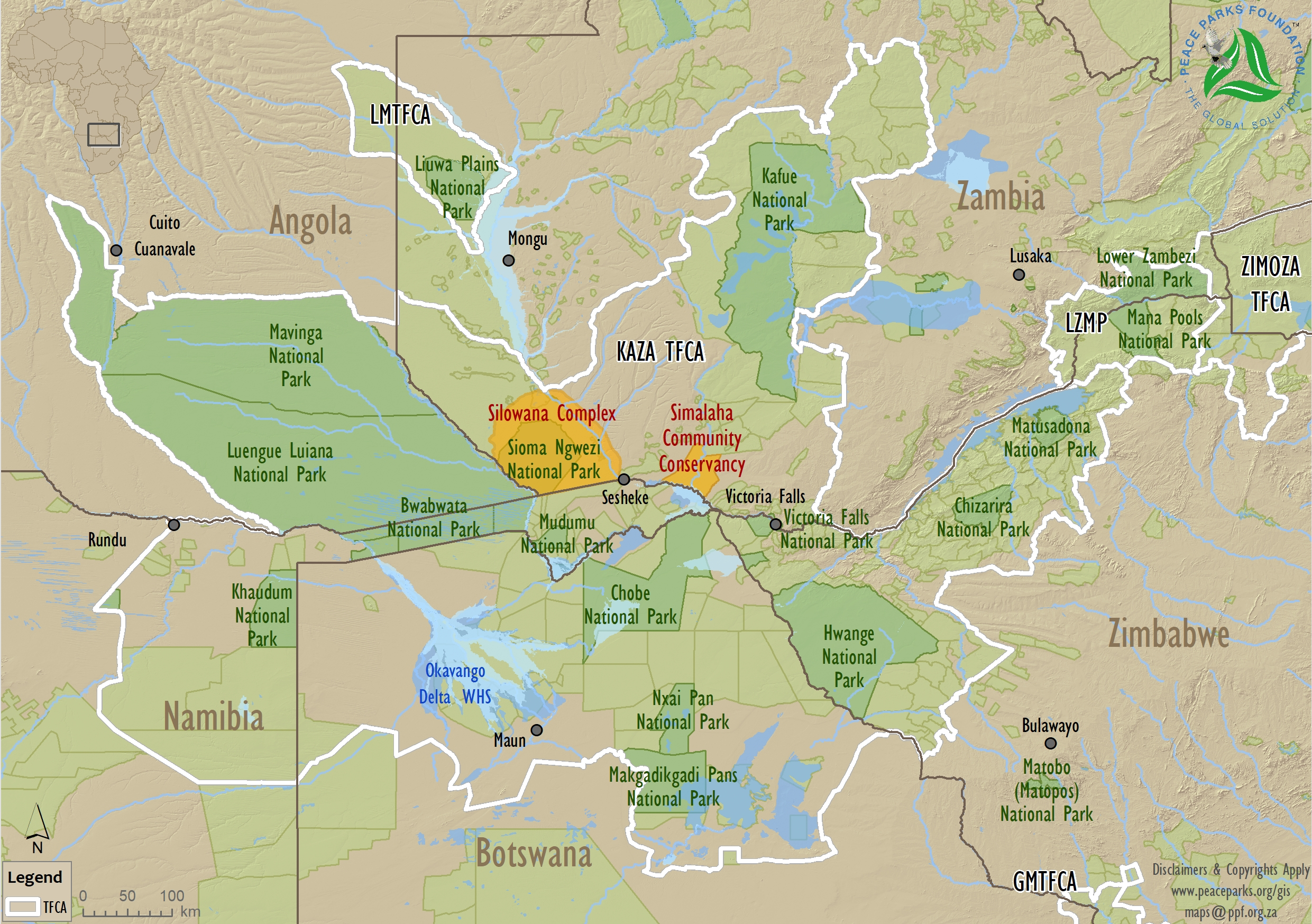 Map of Kavango-Zambezi (KAZA)  (c) Peace Parks Foundation