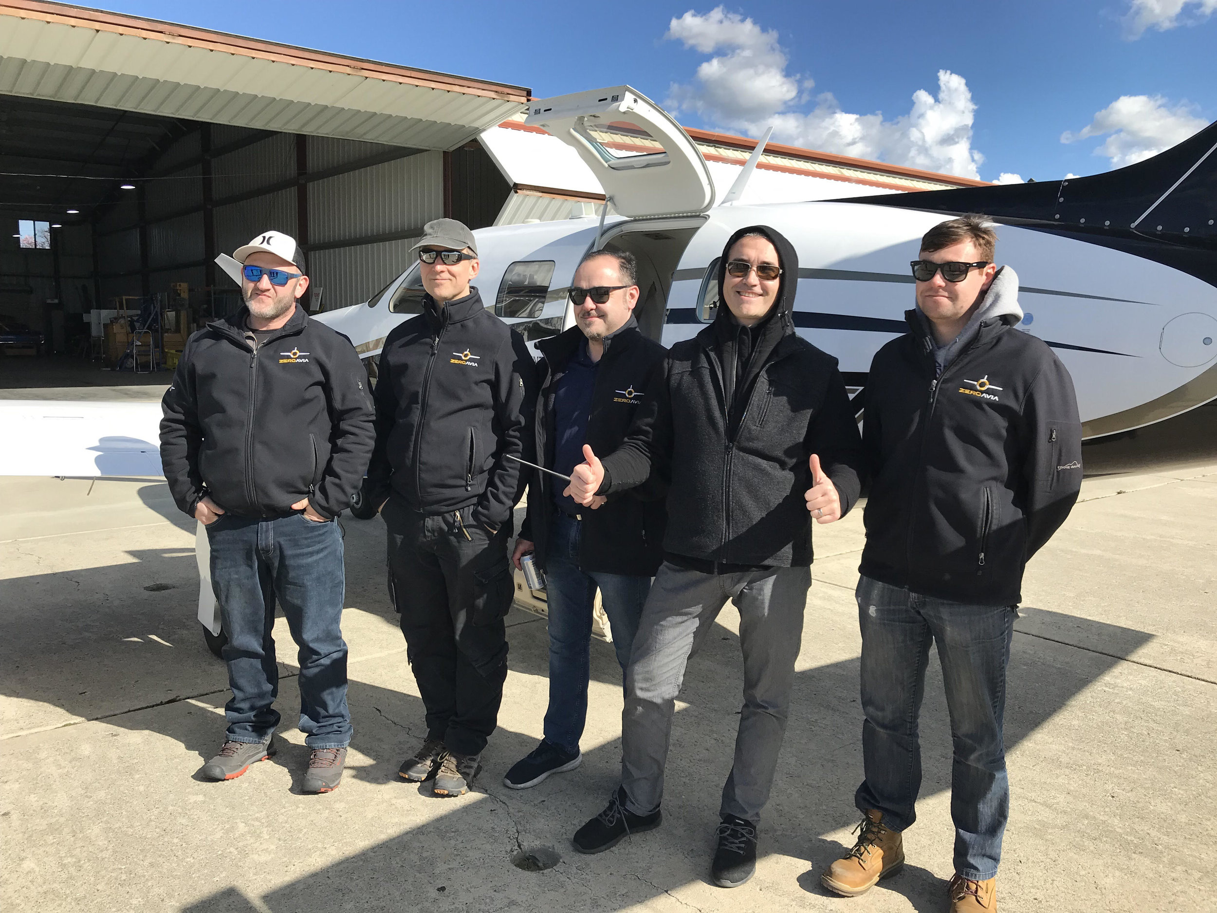 The team after the first flight