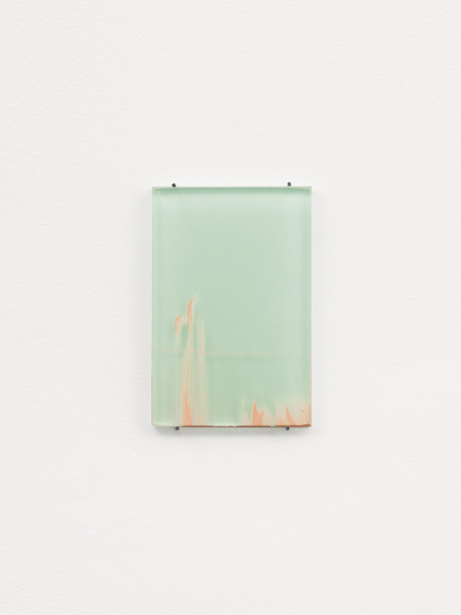 Untitled, 2018 Matt emulsion on glass sample  9 x 6 cm