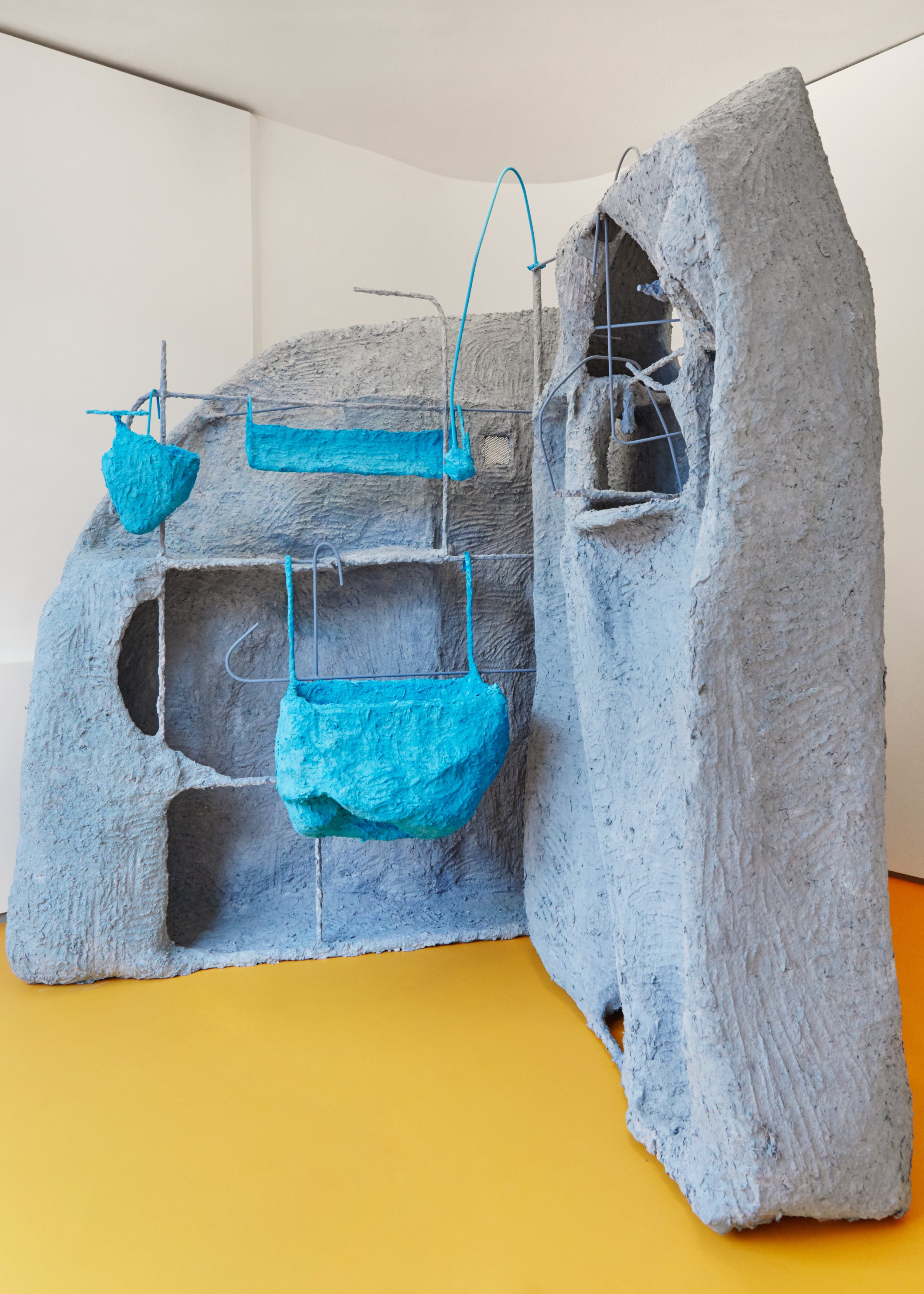 Roost, 2018  Steel, mesh, chicken wire, newspapers, glue, plaster, paint  228 x 170 x 160 cm