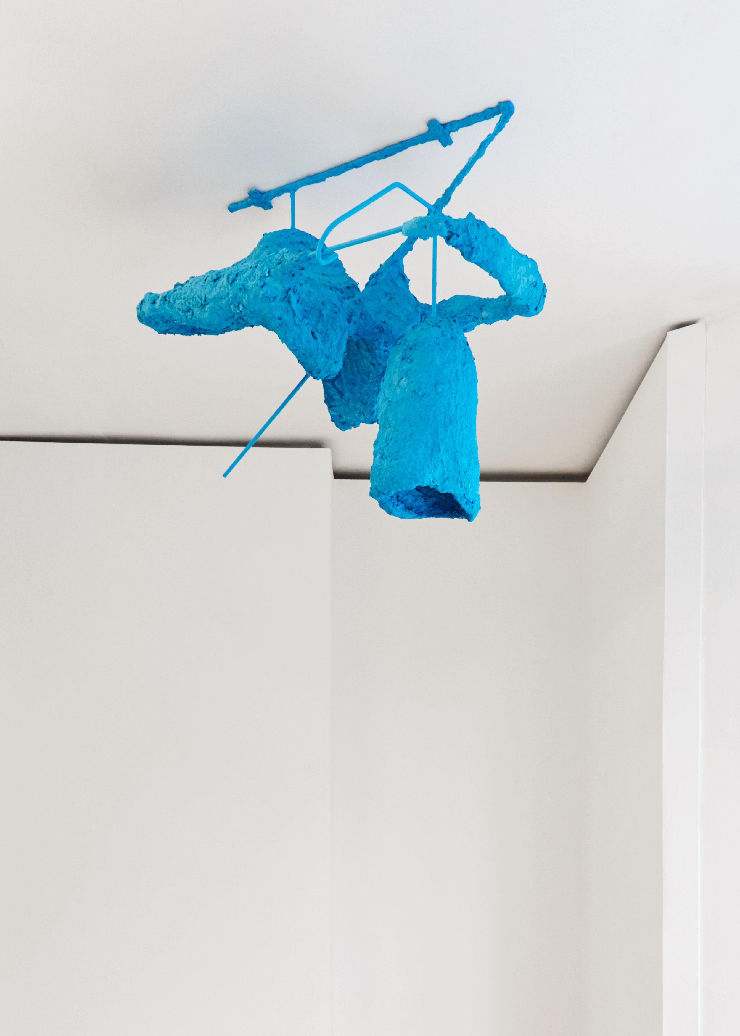Eyrie, 2018  Steel, chicken wire, newspapers, paint, glue, plaster, screws 55 x 71 x 37 cm (ceiling piece)